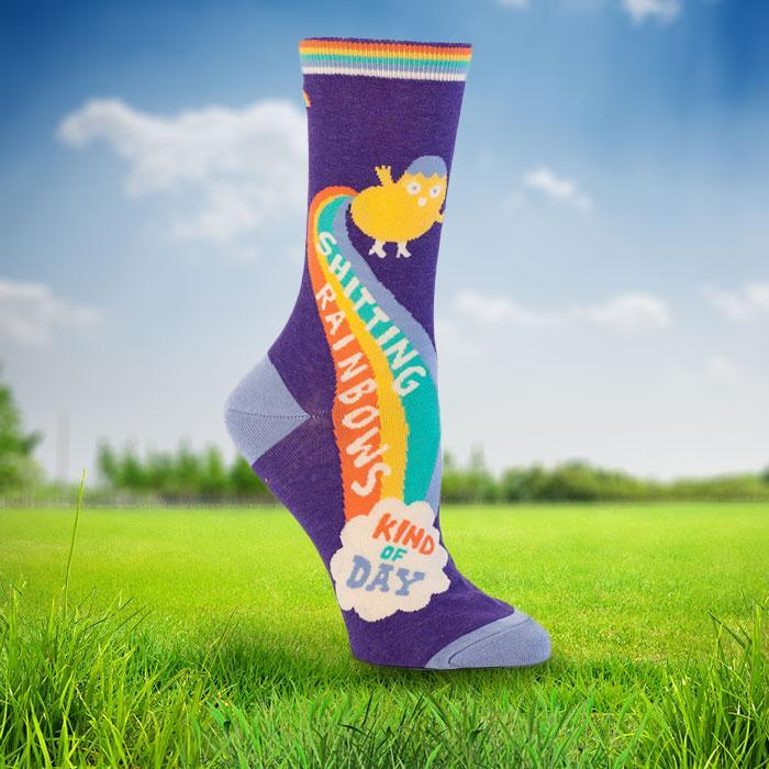 Socks For Ladies Who Sh#t Positivity - Shitting rainbows - Blue Q - Yellow Octopus