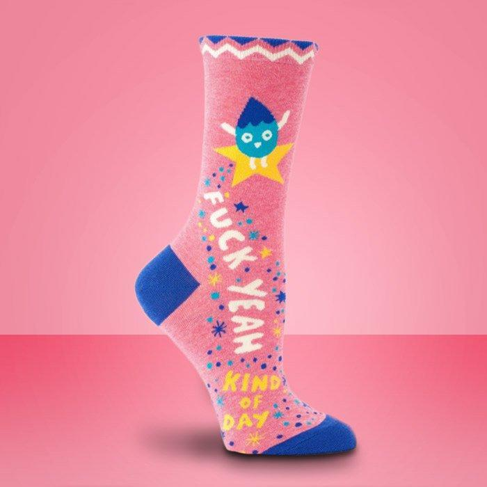 Socks For Ladies Who Sh#t Positivity - Mother Fucking Girl Power - Blue Q - Yellow Octopus