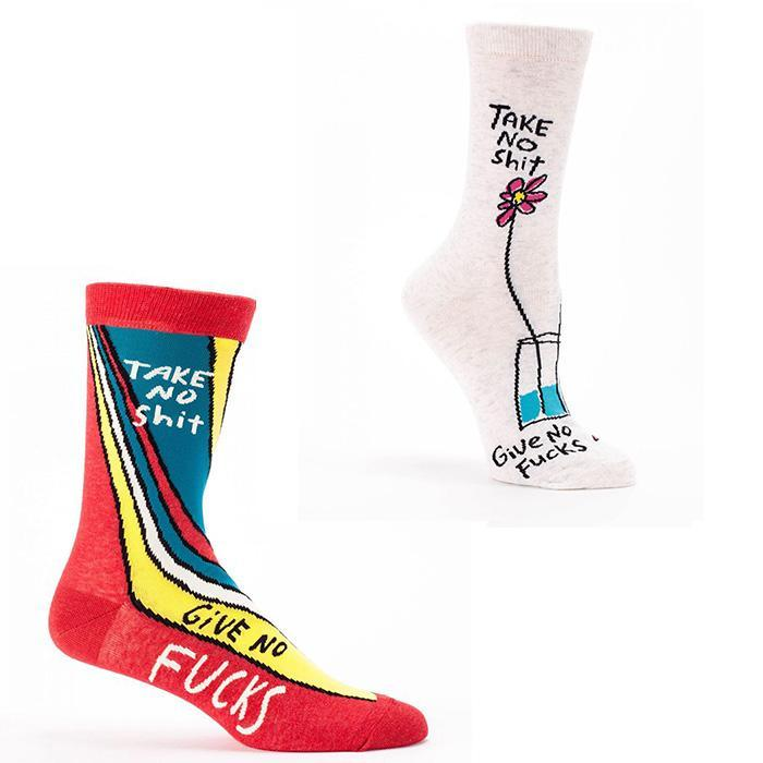 Socks For People Who Don't Give A F#ck - Men's size 7-12 - Blue Q - Yellow Octopus