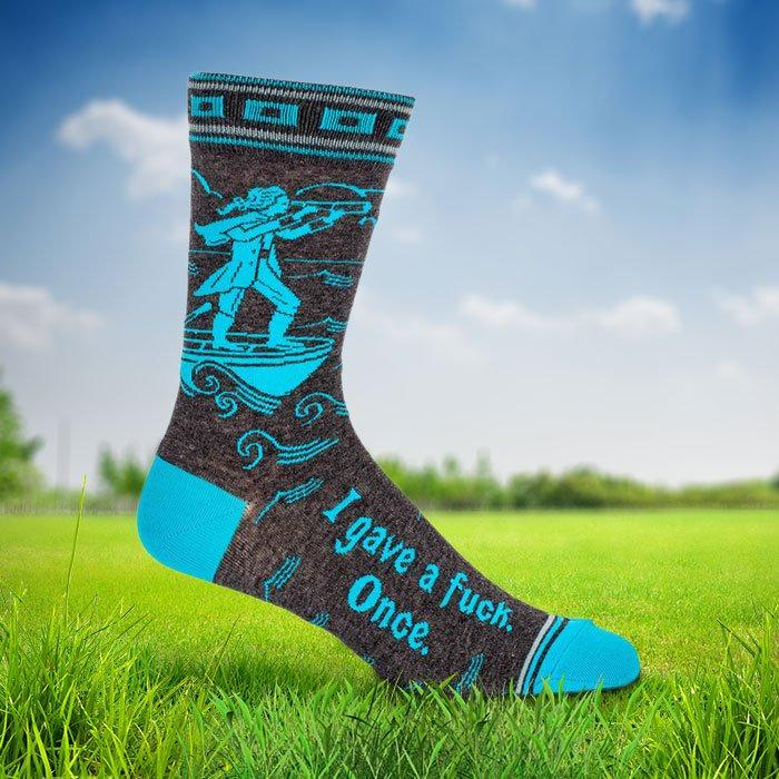 Blue Q Swear Socks For Men I gave a fuck once