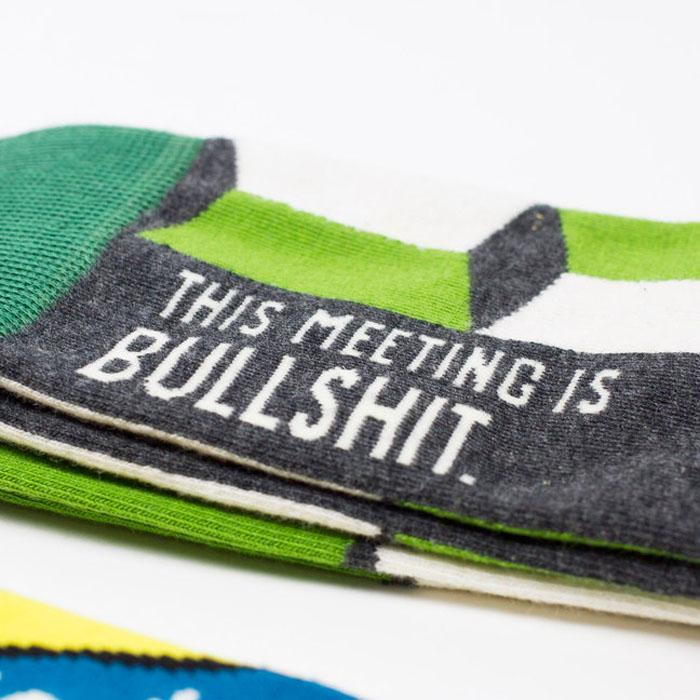 This Meeting Is Bullsh*t Socks - Men (Green) - Blue Q - Yellow Octopus