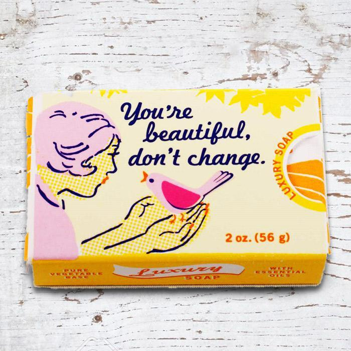 Blue Q 'You're Beautiful, Don't Change' - Gardenia & Orange Soap