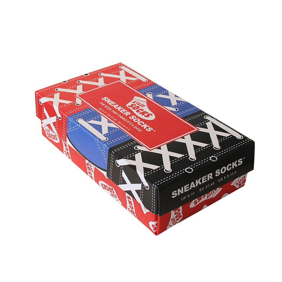 Sneakers Socks Box of 3 Pairs - The Sock That Thinks It's A Shoe! - Mens 3 Pairs (Blue, Red, Black) - BLUW - Yellow Octopus