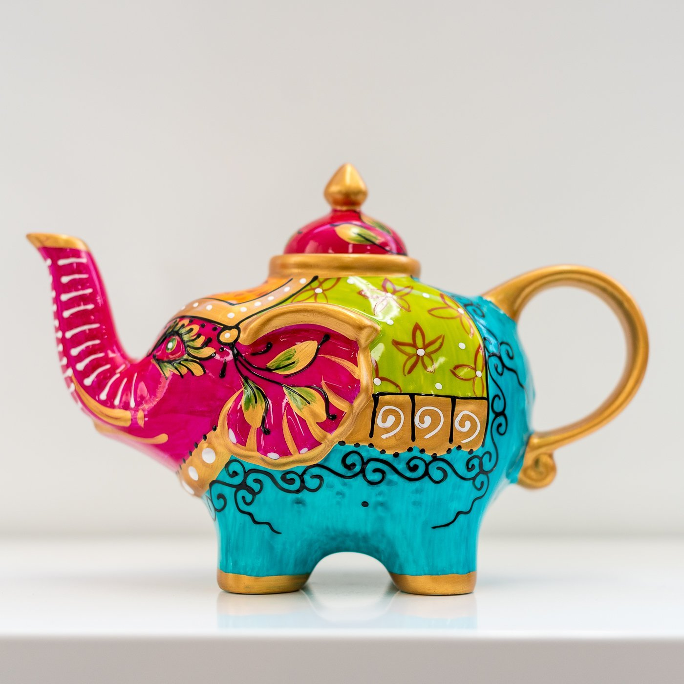 Hand Painted Lucky Elephant Teapot - - Yellow Octopus - Yellow Octopus