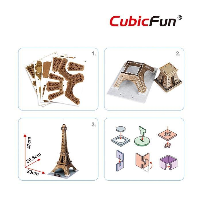 Eiffel Tower 3D Puzzle 39pcs - - Cubic Fun - Yellow Octopus