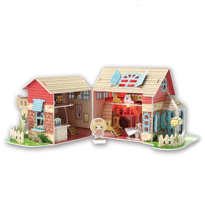 Sweet Villa Dollhouse 3D Puzzle 84pcs - - Cubic Fun - Yellow Octopus