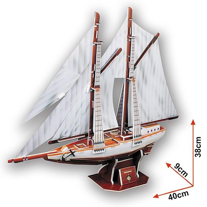 Two-Masted Schooner Ship 3D Puzzle 81pcs - - Cubic Fun - Yellow Octopus