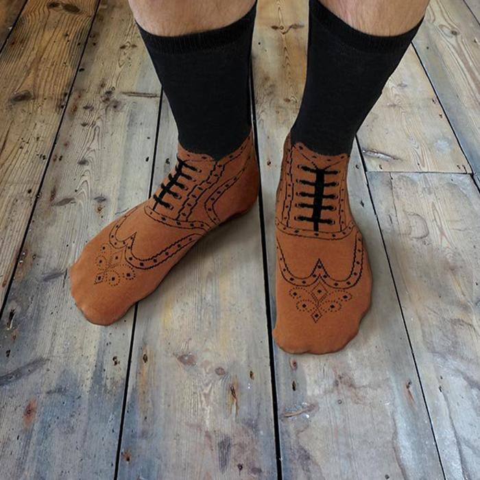 Brogue Socks - - Ginger Fox - Yellow Octopus