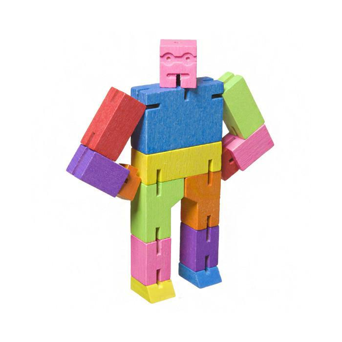 David Weeks Studios Cubebot Micro | Wooden Robot Puzzle Multi-Colour