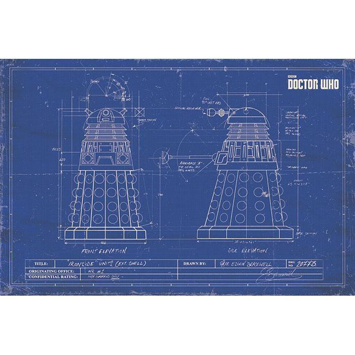 Doctor Who Dalek Blueprint Poster 91 x 61cm - - Doctor Who - Yellow Octopus