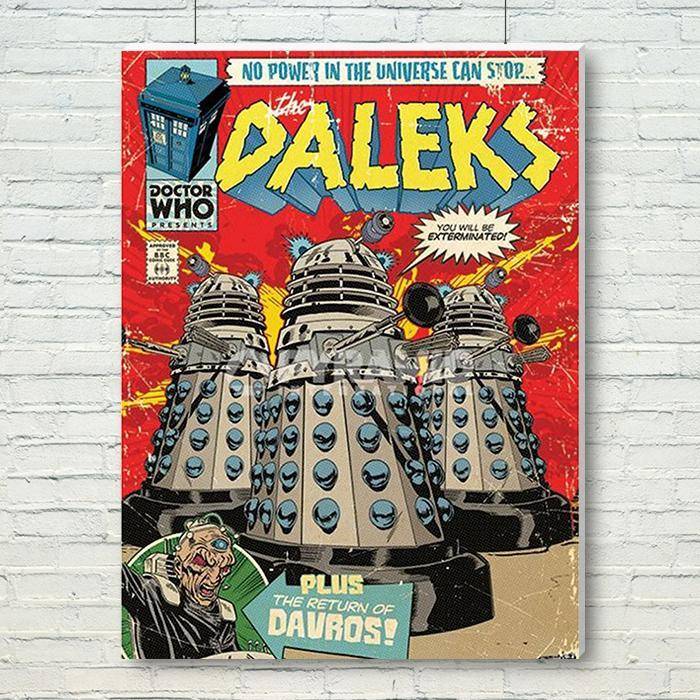 Doctor Who Daleks Are Coming Canvas Wall Art 60 x 80cm - - Doctor Who - Yellow Octopus