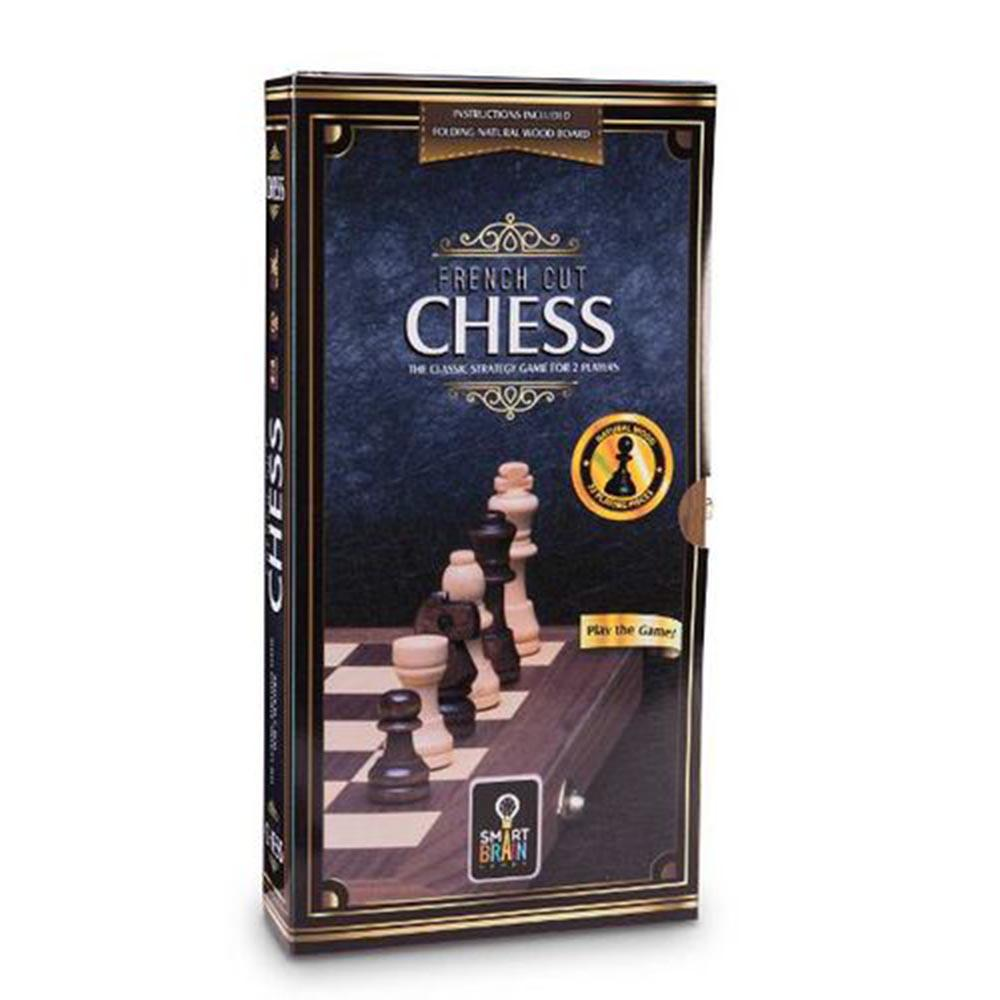 French Cut Wood Chess Set With Folding Board Case
