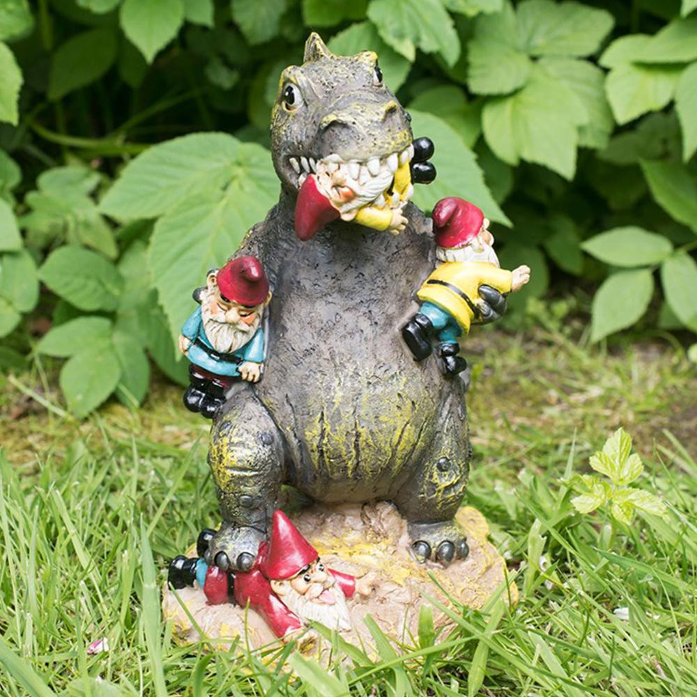 T-Rex Garden Gnome Massacre Lawn Ornament