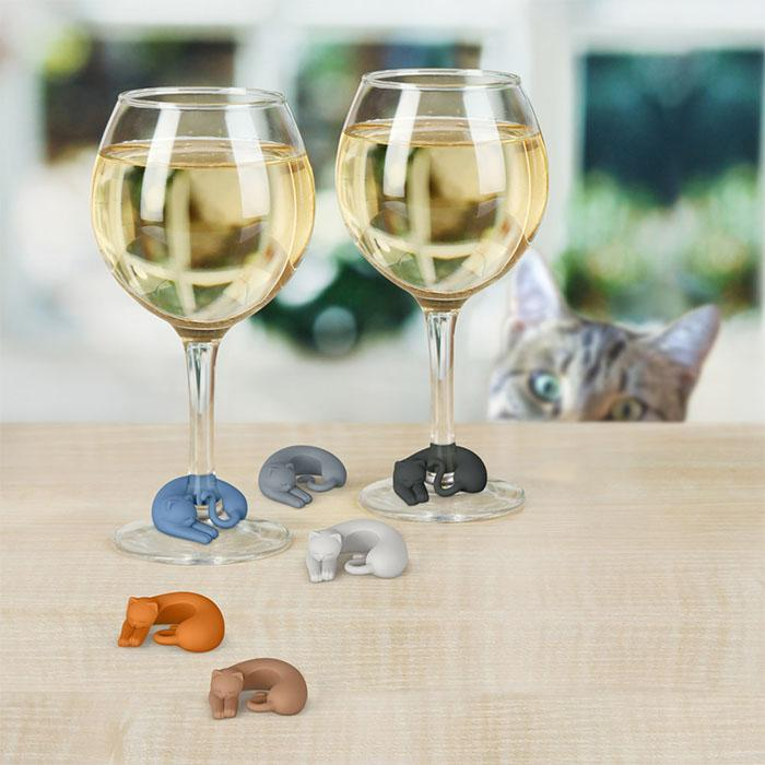 Fred & Friends Wine Lives Cat Wine Markers - - Fred & Friends - Yellow Octopus