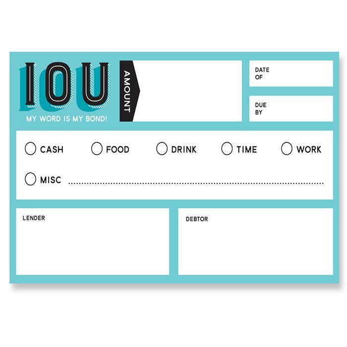 IOU Cards: My Word Is My Bond! - - Fred & Friends - Yellow Octopus