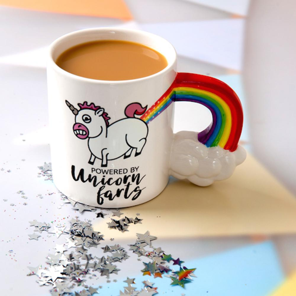 Powered By Unicorn Farts Oversized Rainbow Mug - - Big Mouth Inc - Yellow Octopus