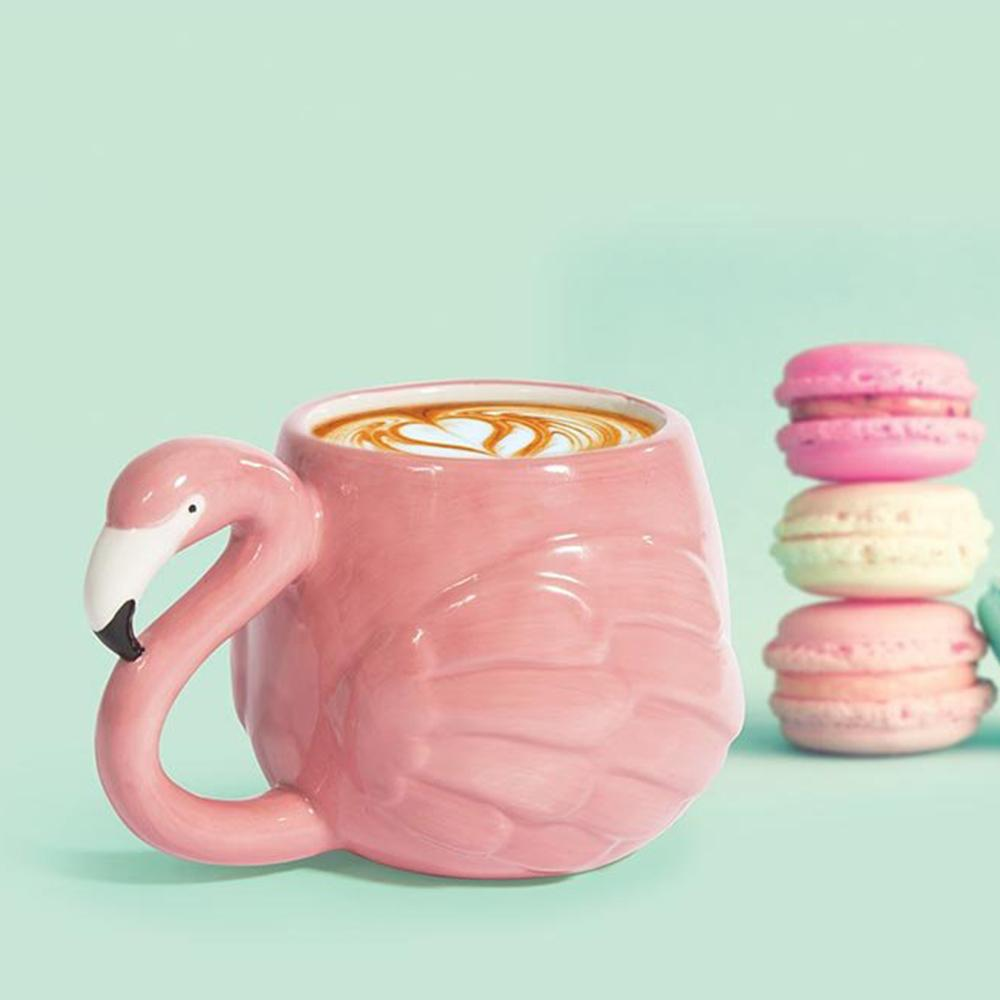 3D Sculpted Ceramic Flamingo Mug