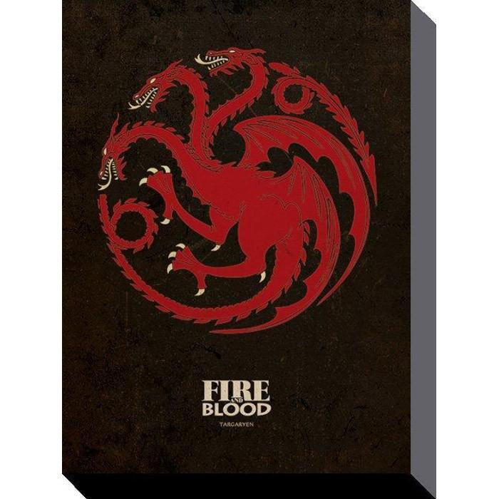 Game of Thrones Targaryen Sigil Art Print 60 x 80cm - - Game of Thrones - Yellow Octopus