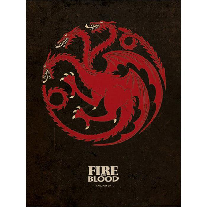 Game of Thrones Game of Thrones Targaryen Sigil Art Print 60 x 80cm