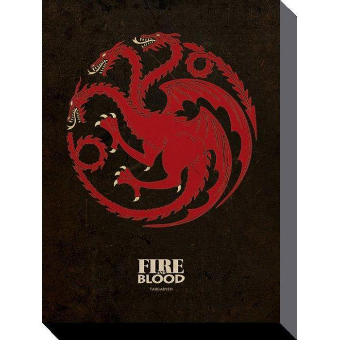 Game Of Thrones Targaryen Sigil Canvas Wall Art 30 x 40cm - - Game of Thrones - Yellow Octopus