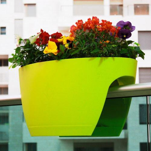 Greenbo Balcony Railing Plant Pot | XL - White - Greenbo - Yellow Octopus