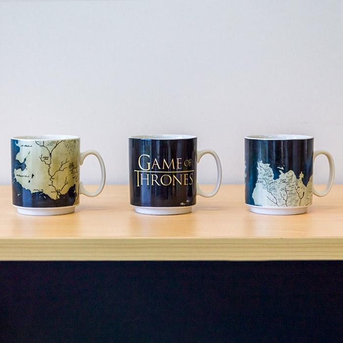 HBO Game of Thrones Westeros Map Stacked Mug Set