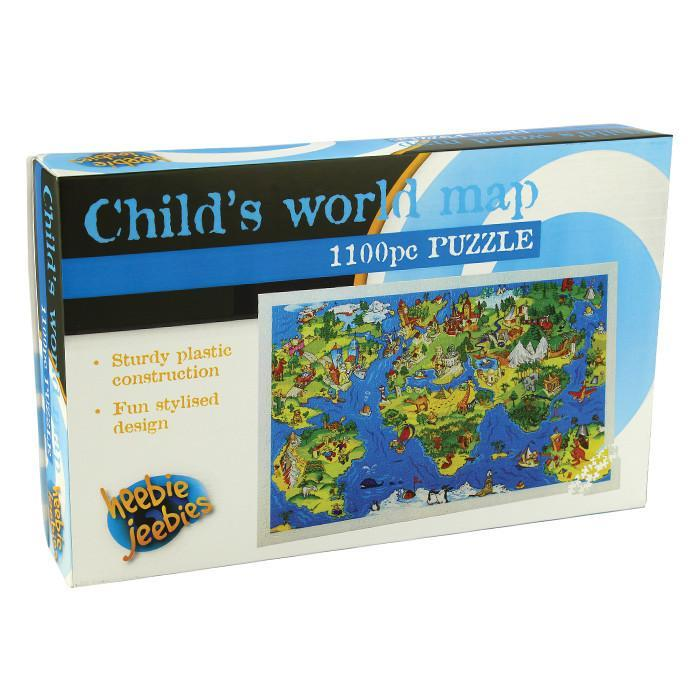 Illustrated World Map Jigsaw Puzzle 1100pcs - - Heebie Jeebies - Yellow Octopus