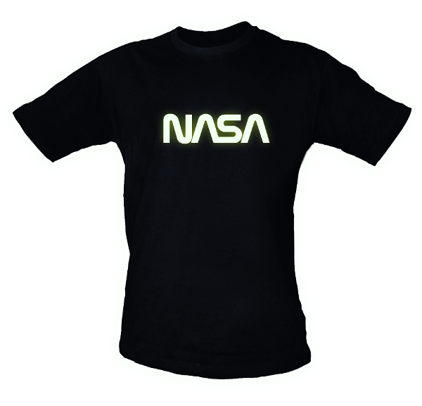 NASA Glow-In-The-Dark NASA Worm Logo Mens T-Shirt