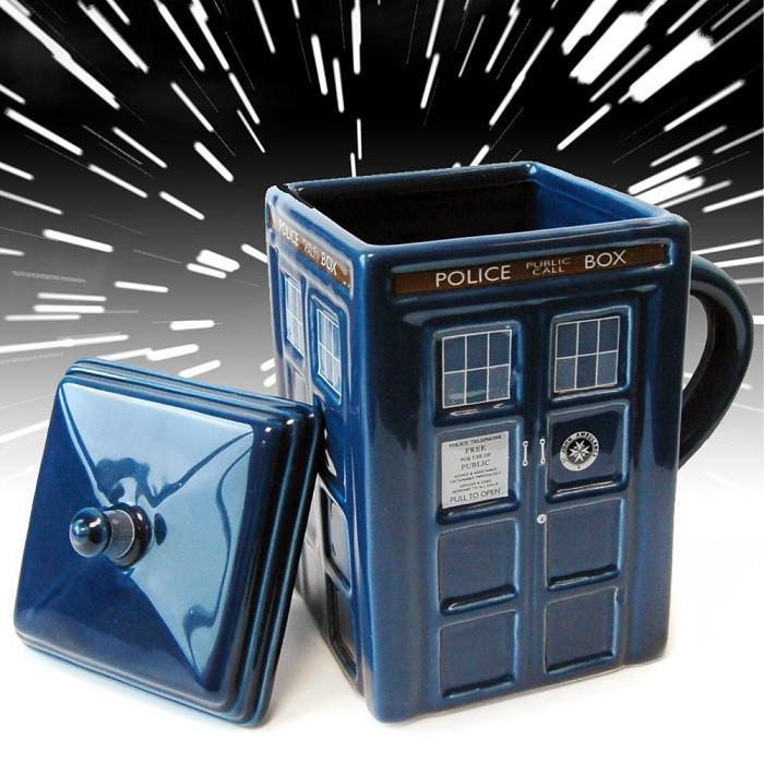Doctor Who Tardis Mug With Lid - Blue - Ikon - Yellow Octopus