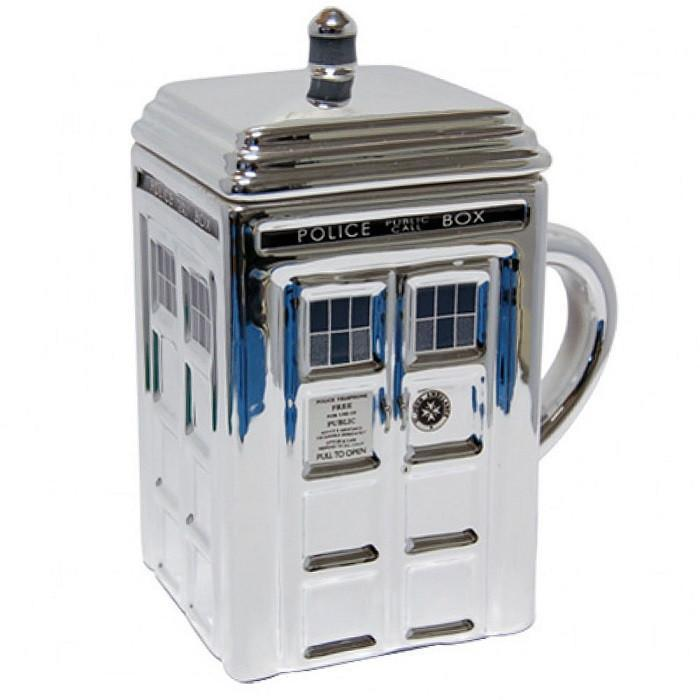 Doctor Who Tardis Mug With Lid - Silver - Ikon - Yellow Octopus