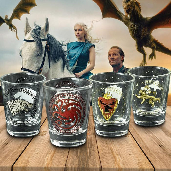 Game Of Thrones Set Of 4 House Sigil Shot Glasses Glass Lannister Baratheon Yellow Octopus