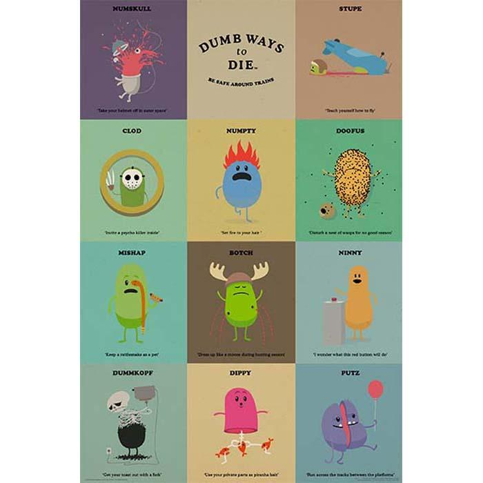 Dumb Ways To Die Characters Poster 61 x 91cm - - Impact Posters - Yellow Octopus