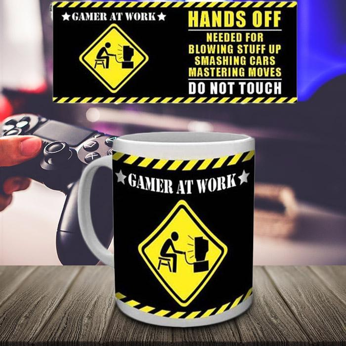 Gamer At Work - Hands Off! Mug - - Impact Posters - Yellow Octopus