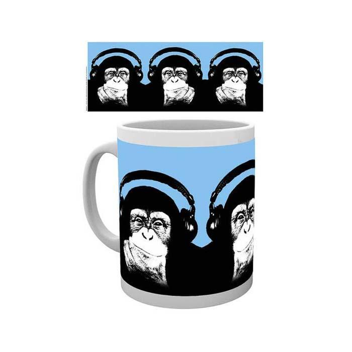 Steez Monkey Wearing Headphones Mug - - Impact Posters - Yellow Octopus