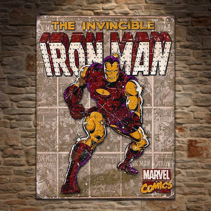 Iron Man Retro Tin Sign - - Iron Man - Yellow Octopus
