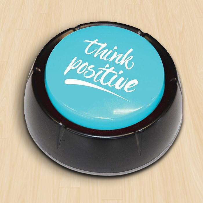 The Think Positive Affirmation Button - - IS - Yellow Octopus