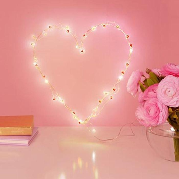 Wired LED Heart Lights - - IS - Yellow Octopus