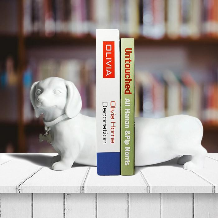 Sausage Dog Dachshund Bookends - White - kuyesa DESIGN - Yellow Octopus