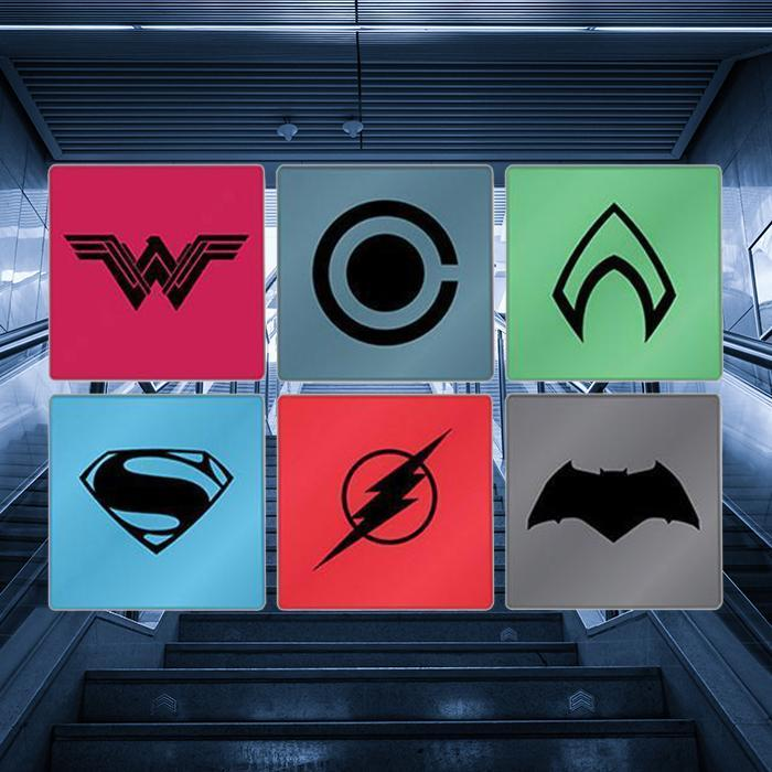 DC Comics DC Comics Justice League Set of 6 Glass Logo Coasters