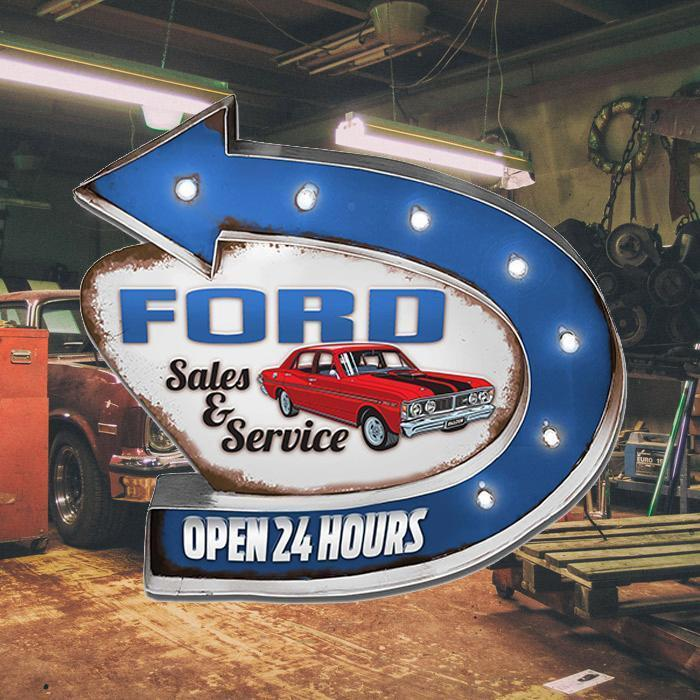 Ford Ford Service Light-Up Mountable Tin Sign