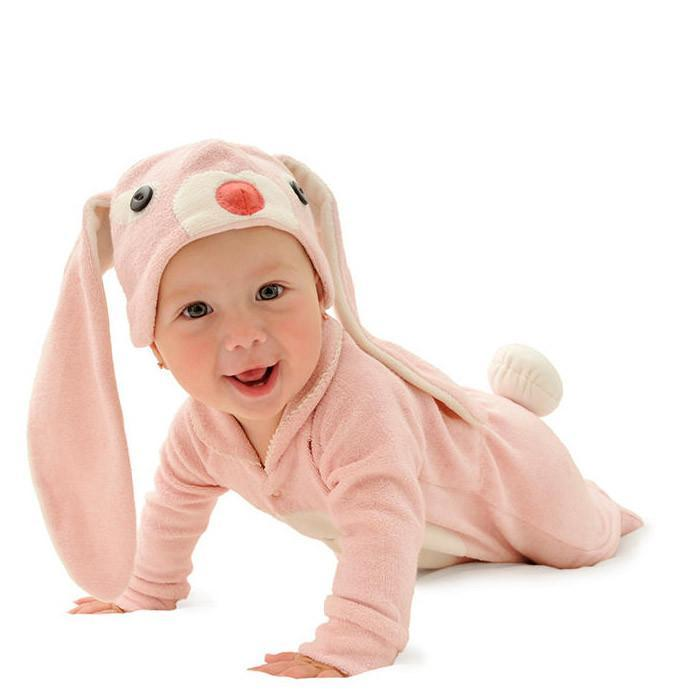 Lil' Creatures Cute Baby Pink Bunny Jumpsuit - 0: 6-12 months - Lil' Creatures - Yellow Octopus