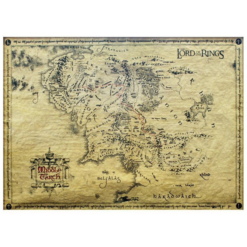 Lord of the Rings Middle Earth Parchment Map 66 x 46cm - - Lord of the Rings - Yellow Octopus
