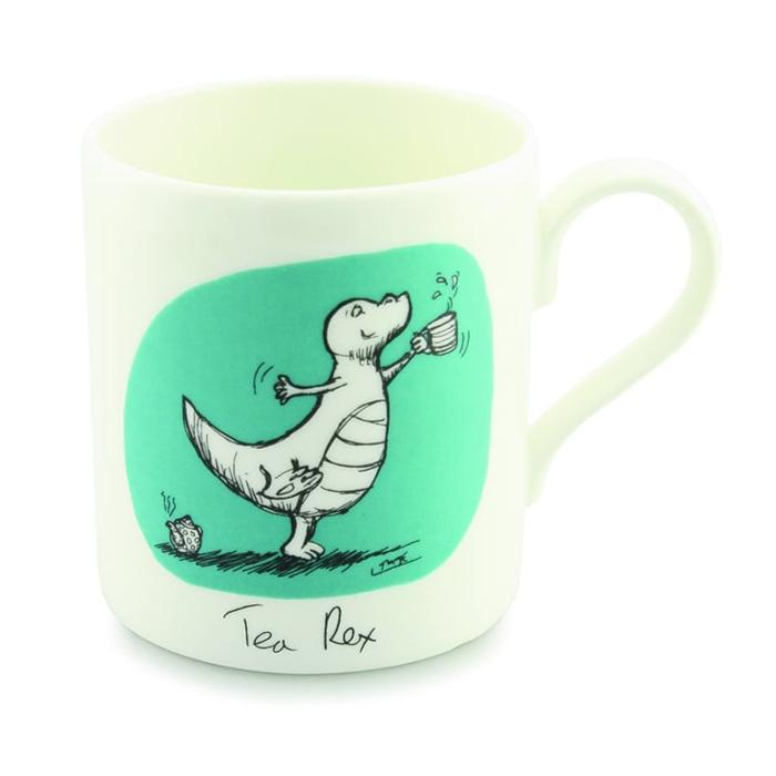 Tea Rex Illustrated Coffee Mug - - Louise Tate - Yellow Octopus