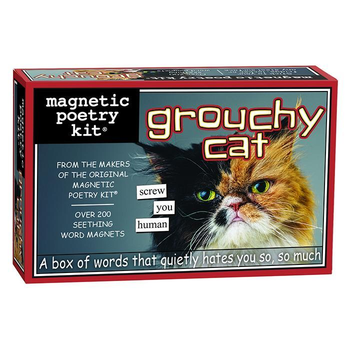 Grouchy Cat Fridge Magnet Poetry Kit - - Magnetic Poetry - Yellow Octopus