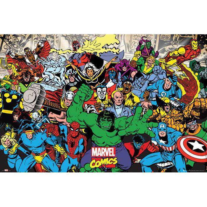 Magnetic Poetry Marvel Character Collage Poster 91 x 61cm