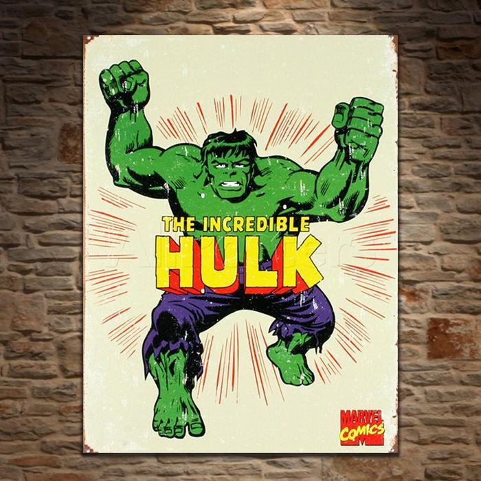 The Incredible Hulk Retro Tin Sign - - Marvel - Yellow Octopus