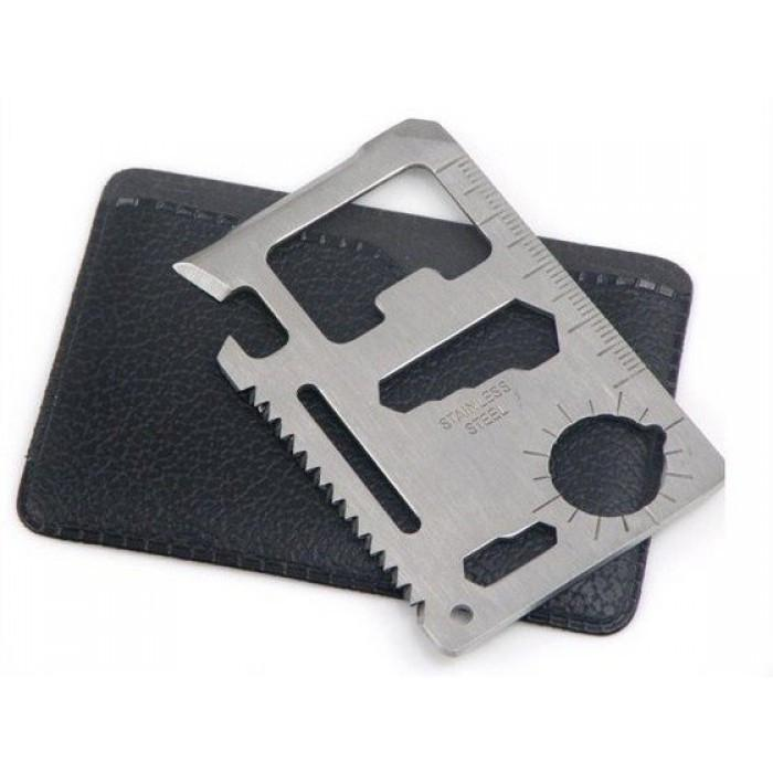 10-in-1 Stainless Steel Credit Card Multi-Tool - - mdi - Yellow Octopus
