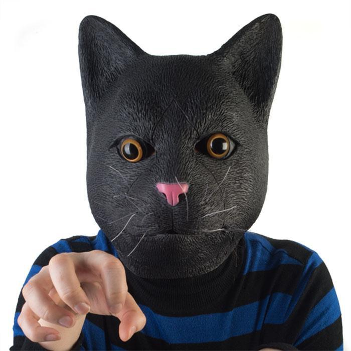 Black Cat Party Mask - - mdi - Yellow Octopus