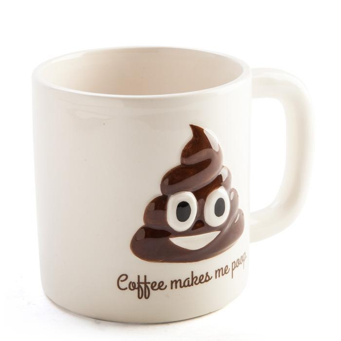 Coffee Makes Me Poop! Large Coffee Mug - - mdi - Yellow Octopus