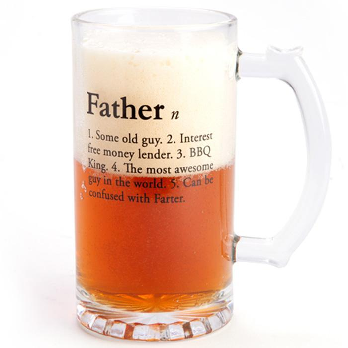 Fathers Stein Beer Glass - - mdi - Yellow Octopus
